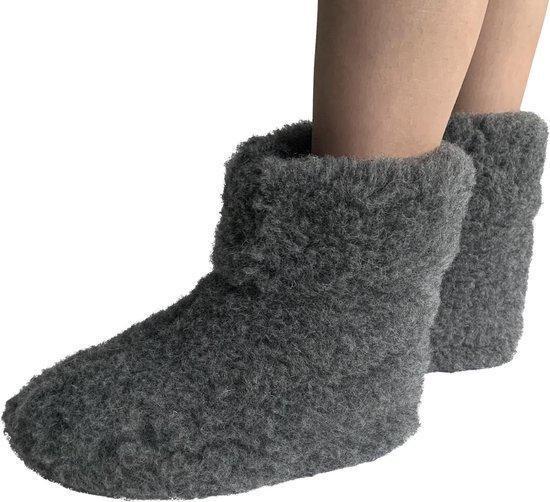 LuLu- Grijze wollen sloffen / pantoffels met antislipzool – maat 41 – unisex