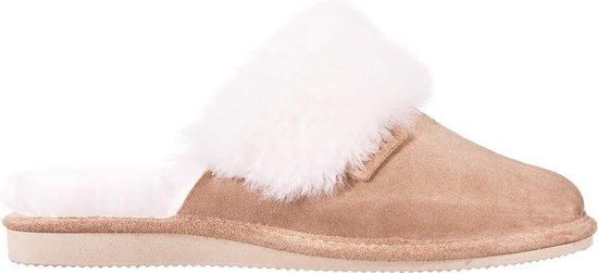 LuLu- Leren dames pantoffels / sloffen gevoerd met schapenvacht. Maat 38