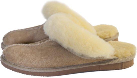 Schapenvacht pantoffels – Lamsvacht dames slippers – Camel – Maat 40