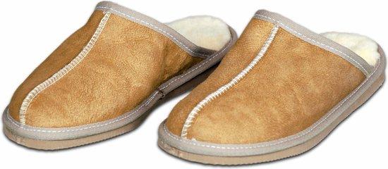 Schapenvacht pantoffels – Lamsvacht heren slippers – Camel – Maat 44