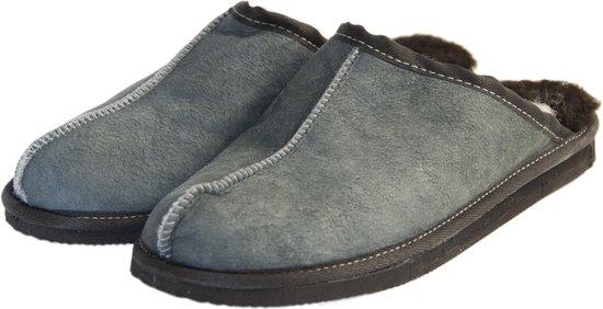 Schapenvacht pantoffels – Lamsvacht heren slippers – Grijs – Maat 44