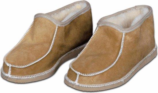 Schapenvacht pantoffels – Lamsvacht heren sloffen – Camel – Maat 43