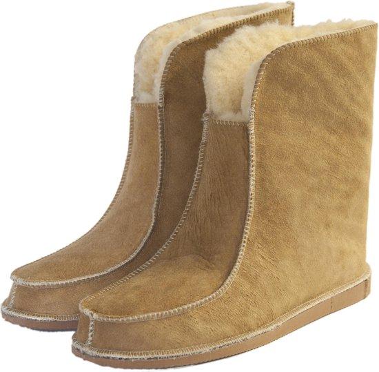 Schapenvacht pantoffels – Lamsvacht hoge pantoffels – Camel – Maat 40