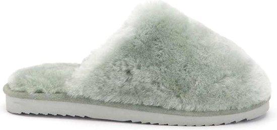 Warmbat Mungo Fur Dames Pantoffels – Mint – Maat 41